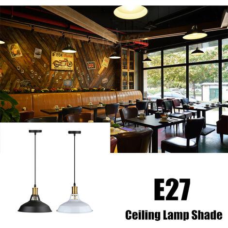 Lámpara de techo colgante retro Iluminación de techo industrial Lámpara colgante para E27 E27 【La bombilla no está incluida】 - Negro / Blanco (negro)