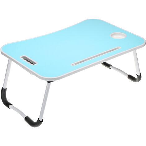 Bandeja de cama plegable para escritorio de computadora con 5 colores con ranura para tarjeta + portavasos + cajón (azul)