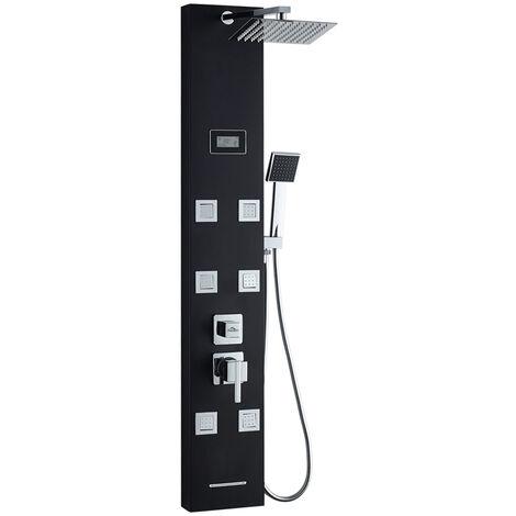 AURALUM Duschpaneele mit LED Duschsystem aus Edelstahl duschpaneele schwarz Handbrause