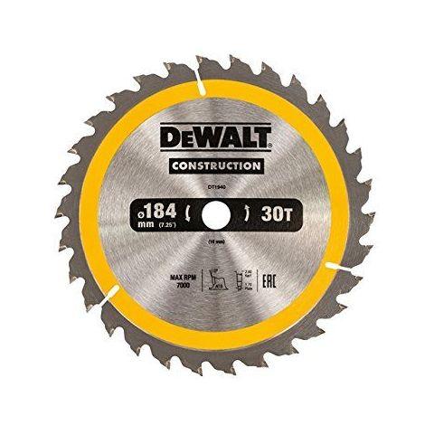 DEWALT DT1940-QZ - Hoja para sierra circular portátil para construcción 184x16mm 30D ATB +10º