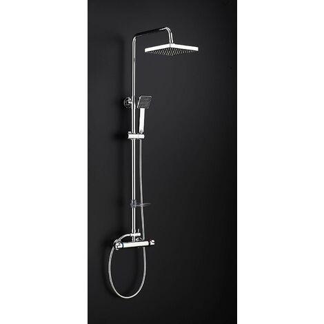 DP Bath Azabache - Set de douche avec mitigeur thermostatique rond argenté