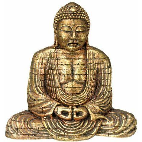 Nobby 28392 Aqua Ornaments Décoration d\'aquarium en forme de bouddha Doré 15,5 x 9,6 x 15,4cm