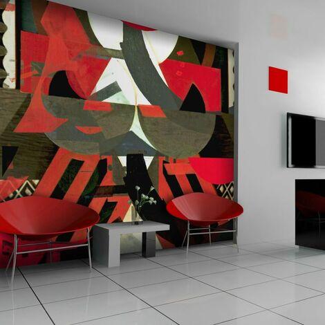 Papier peint - Composition artistique en rouge .Taille : 200x154