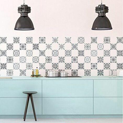 60 Stickers adhésifs carrelages | Sticker Autocollant Carrelage - Mosaïque carrelage mural salle de bain et cuisine | Carrelage adhésif - vintage nuances de gris - 10 x 10 cm - 60 pièces