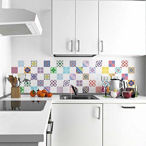 60 Stickers adhésifs carrelages   Sticker Autocollant Carrelage - Mosaïque carrelage mural salle de bain et cuisine   Carrelage adhésif - multicouleur vintage artistiques - 10 x 10 cm - 60 pièces
