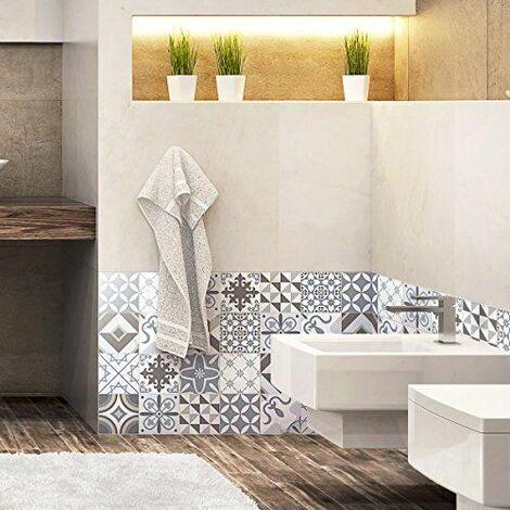 24 Stickers adhésifs carrelages | Sticker Autocollant Carrelage - Mosaïque carrelage mural salle de bain et cuisine | Carrelage adhésif - portugais - 10 x 10 cm - 24 pièces
