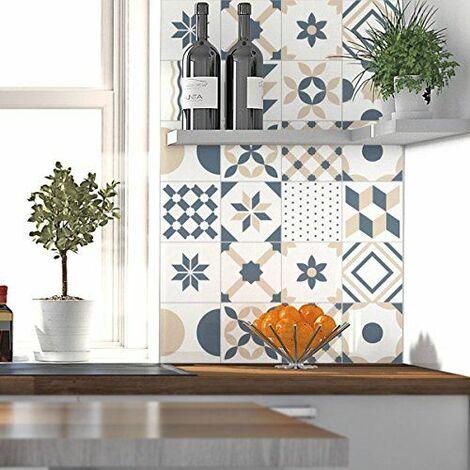 24 Stickers adhésifs carrelages | Sticker Autocollant Carrelage - Mosaïque carrelage mural salle de bain et cuisine | Carrelage adhésif - minimaliste - 10 x 10 cm - 24 pièces