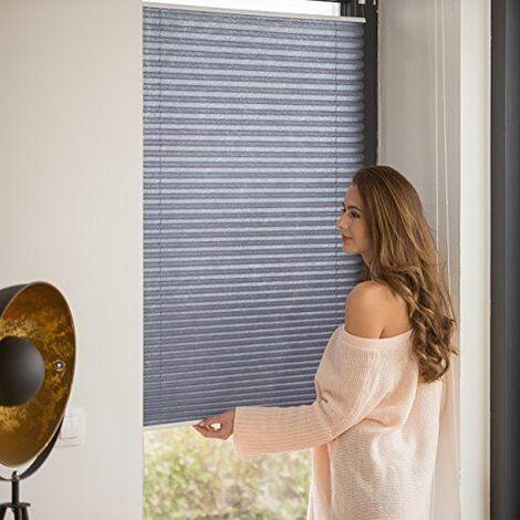 Relaxdays Store vénitien sans perçage volet fenêtre gris 100 x 130 cm laisse passer la lumière, gris