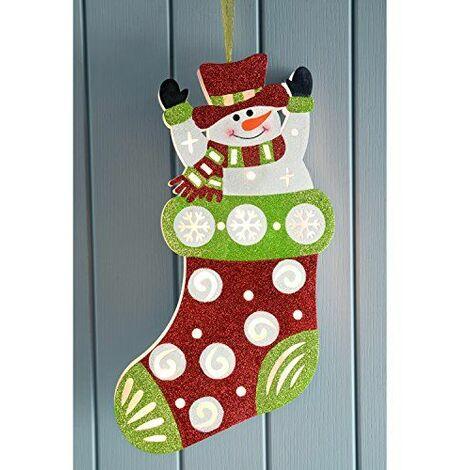 WeRChristmas Chaussette de Noël Bonhomme de neige Décoration de Noël, multicolore, 44cm