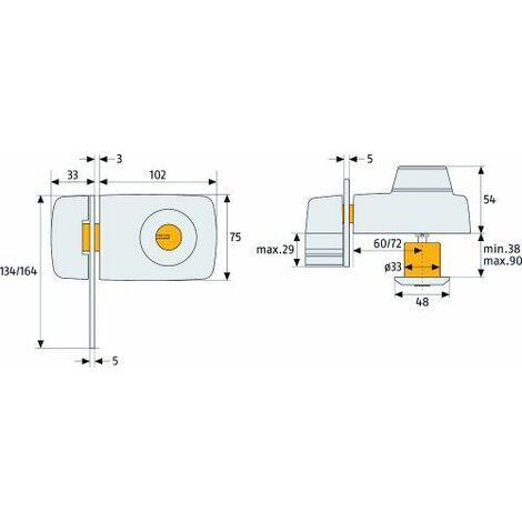 Abus 532788 7035 S Verrou de porte avec cylindre intérieur et extérieur et entrebâilleur Argenté