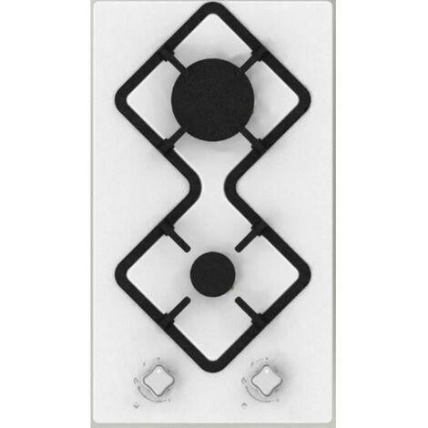 HUDSON HDG 2 B - Table de cuisson gaz domino - 2 foyers - Blanc