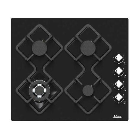 HUDSON HTG 4 BVN - Table de cuisson gaz - 4 foyers - L 60 cm - Revetement verre - Noir