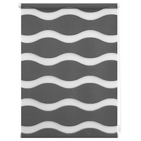 Lichtblick Store Duo motif vagues, supports auto-serrants, Polyester, anthracite, 100 cm x 150 cm B x L