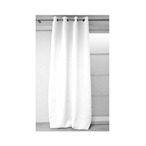 Soleil d\'Ocre 035010 Rideau Isolant/Occultant à Oeillets Polyester Blanc 180 x 140 cm