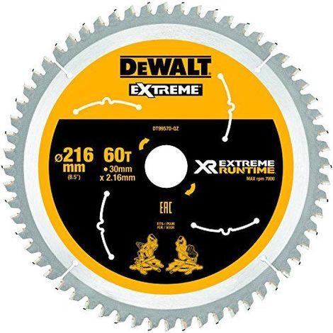DeWalt XR Extreme Runtime Lame de scie circulaire statique, 1pièce, 216/30mm 60WZ/FZ, dt99570de QZ