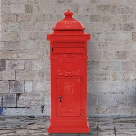Topdeal Säulenbriefkasten Aluminium Vintage-Stil Rostfrei Rot 28117