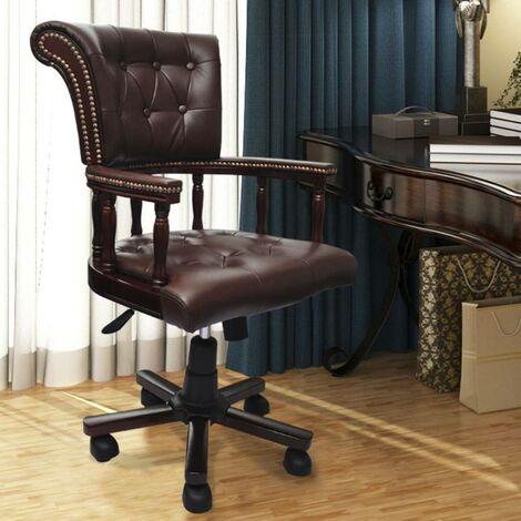 Drehstuhl Bürostuhl chesterfield Ledermix 07397
