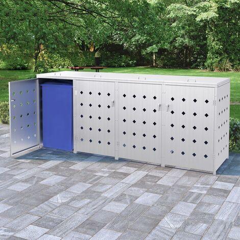 Topdeal Mülltonnenbox für 4 Tonnen 240 L Edelstahl 35101