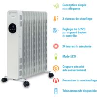 Radiateur bain d'huile 1500W, 3 niveaux de chauffage, minuterie 24h et mode Eco, avec télécommande, OCE-D01-1500 OPTIMEO (Marque française)