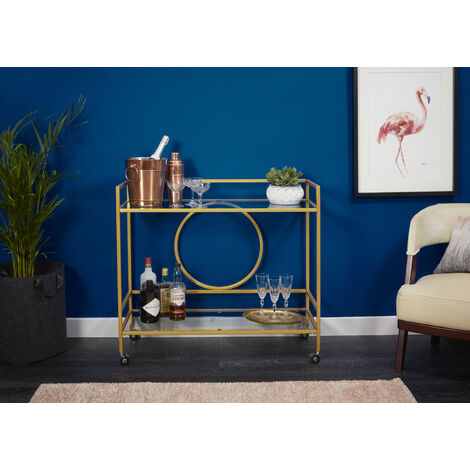 Drinks Trolley with Circle Backing- Gold Powder Coat