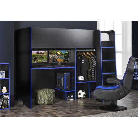 Black /Blue Highsleeper Bed with Adjustable Desk-Top & Open Wardrobe