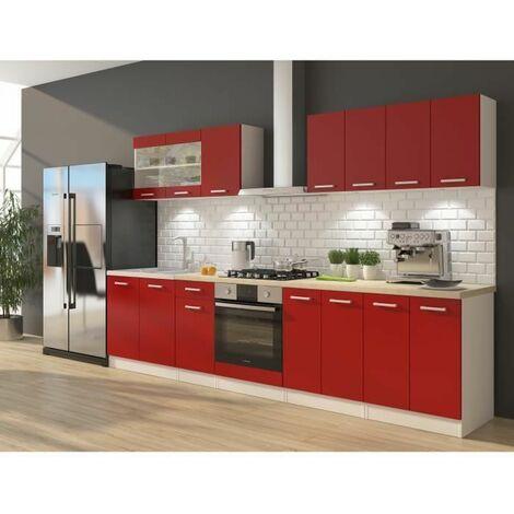 ULTRA Cuisine complete avec meuble four et plan de travail inclus L 300 cm - Rouge mat