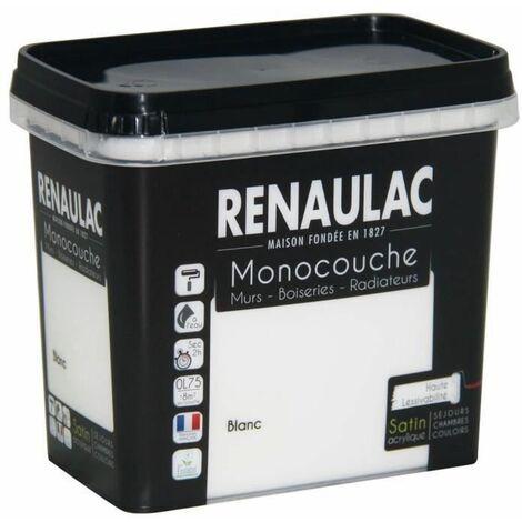Peinture murale monocouche multi-support 0,75 L blanc satin Murs / Boiseries / Radiateurs - RENAULAC