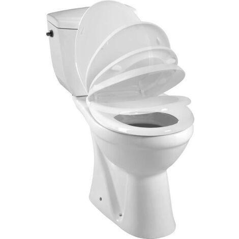 Pack WC a poser KARMA avec cuvette et reservoir en porcelaine - Mecanisme 3/6L, alimentation deau silencieuse