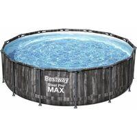 BESTWAY Piscine hors sol ronde Steel Pro Max - Decor bois - 427 x 107 cm
