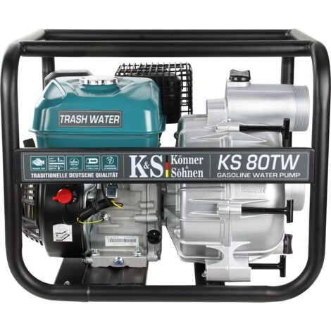 Motopompe à essence pour eau sale TM Könner & Söhnen KS 80TW, hauteur de relevage 26 m, profondeur d'aspiration 7 m, 7,0 CV, moteur thermique à 4 temps EURO V, motopompe de surface.