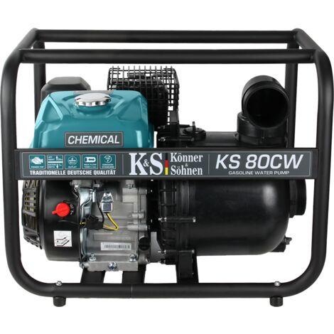 Motopompe à essence Könner & Söhnen KS 80CW pour liquides agressifs 7,0 CV, hauteur de relevage des liquides 26 m, profondeur d'aspiration 7 m, convient aux liquides chimiques et eau de mer.