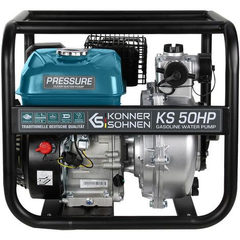Motopompe à essence pour eau propre haute pression TM Könner & Söhnen KS 50HP, hauteur de relevage 50 m, profondeur d'aspiration 7 m, 7,0 CV, moteur thermique à 4 temps EURO V, motopompe de surface.