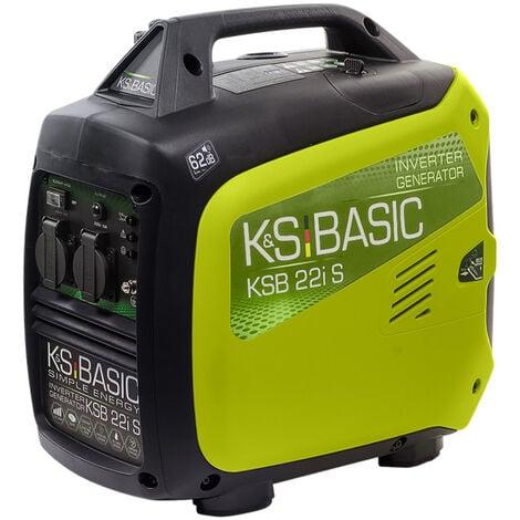 Groupe électrogène onduleur KSB 22i S d'une puissance maximale de 2000 W, double conversion d'électricité, adapté aux appareils sensibles, moteur EURO V, 2x16A (230V), mode économie de carburant, boîtier insonorisé, dimensions compactes.
