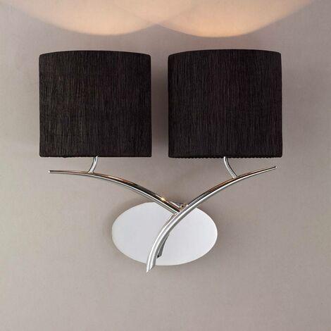 Aplique Eve con interruptor de 2 luces E27, cromo pulido con pantalla ovalada negra