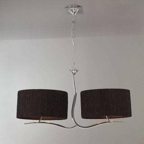 Lámpara colgante Eve 2 Arm 4 Bombillas E27, cromo pulido con pantallas ovaladas negras