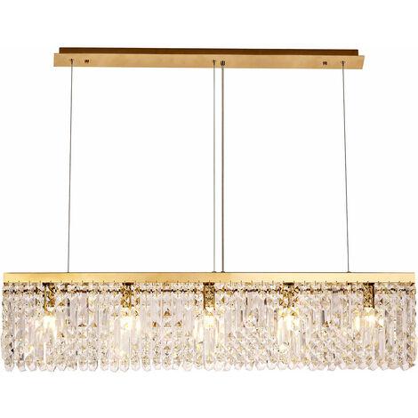 Lámpara colgante rectangular Hektor 5 Bombillas Dorado 108,5 Cm