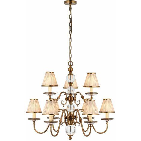 Tilburg chandelier, antique brass 9 lights with beige shades
