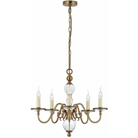 Tilburg chandelier, antique brass 5 lights