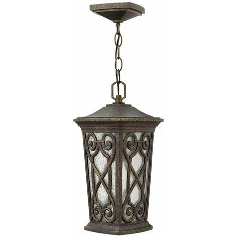 Enzo outdoor pendant light, small, glass, aluminum, fall color