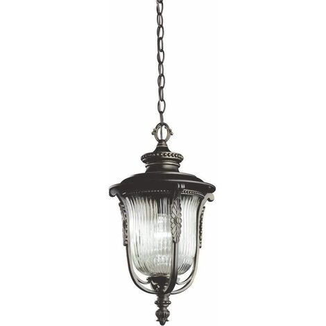 Luverne pendant lamp, oxidized bronze and glass