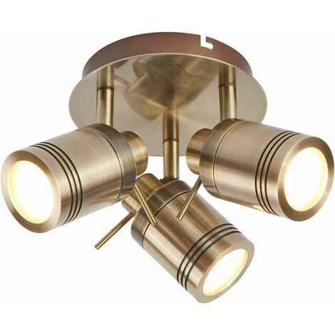Samson ceiling light, antique brass, 3 bulbs