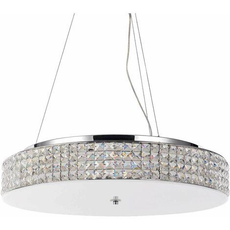 Chrome-plated crystal pendant light ROMA 12 bulbs