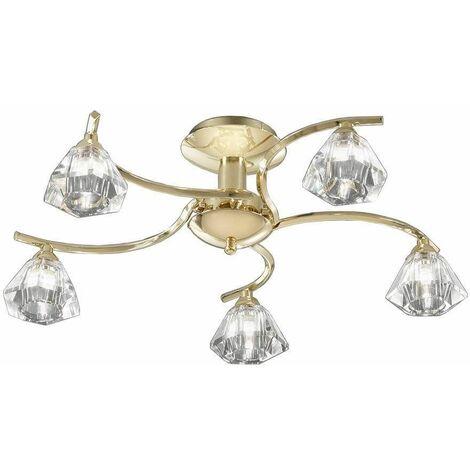 Brass ceiling light in crystal Twista 5 Bulbs