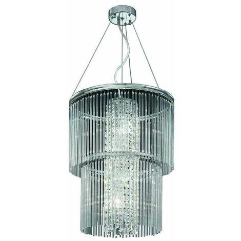 Chromed crystal pendant light Charisma 4 bulbs