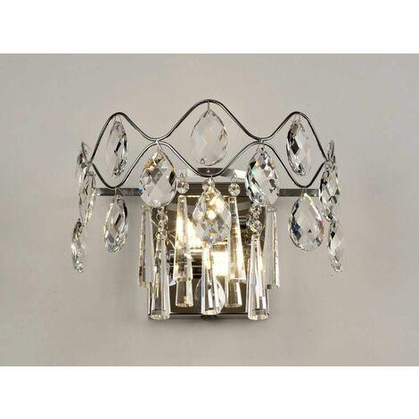 Kenzie wall light with switch 2 lights polished chrome / crystal
