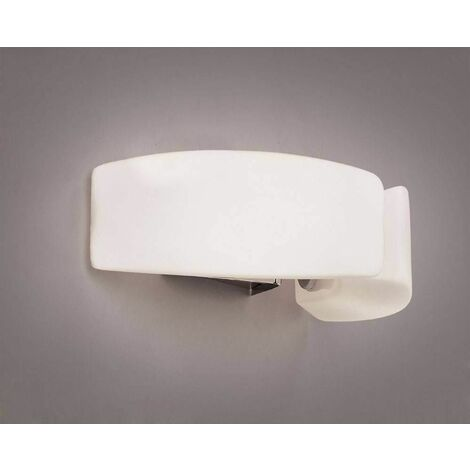 Lupa ceiling / wall lamp with switch 2 G9 bulbs, polished chrome / frosted white glass