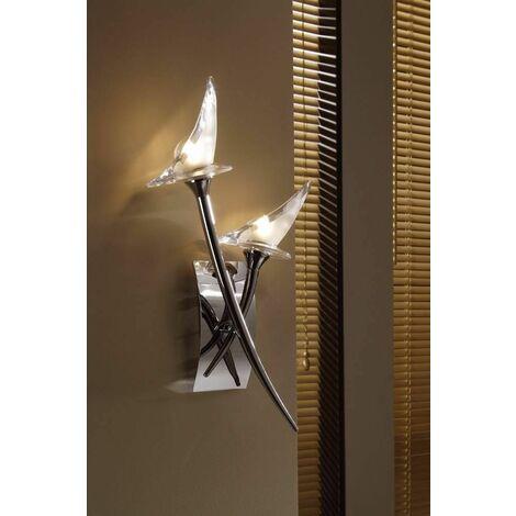 Flavia wall light with 2-light switch G9, polished chrome