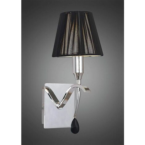 Siena wall light with 1-light switch E14, polished chrome with black lampshade and black crystal