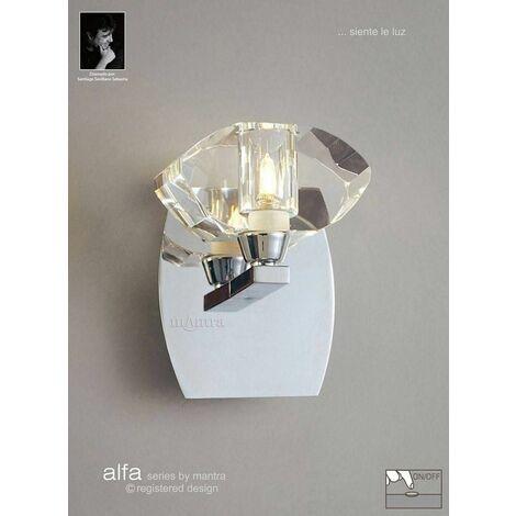 Alfa wall light with 1-light switch G9, polished chrome