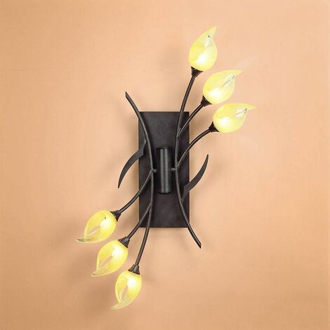 Hollet ceiling / wall lamp with switch 6 lights G9, brown / oxidized black